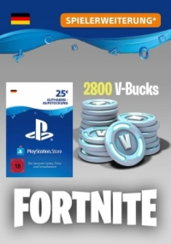Fortnite - 2.500 V-Bucks + 300 extra V-Bucks - 2.800 V-Bucks (PS4) 25 Euro PlayStation Guthaben