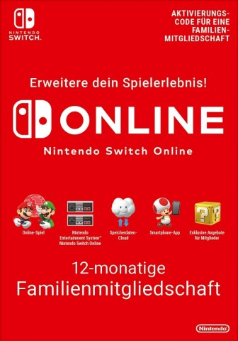 Nintendo Switch Online 12 Monate Familienmitgliedschaft (365 Tage)