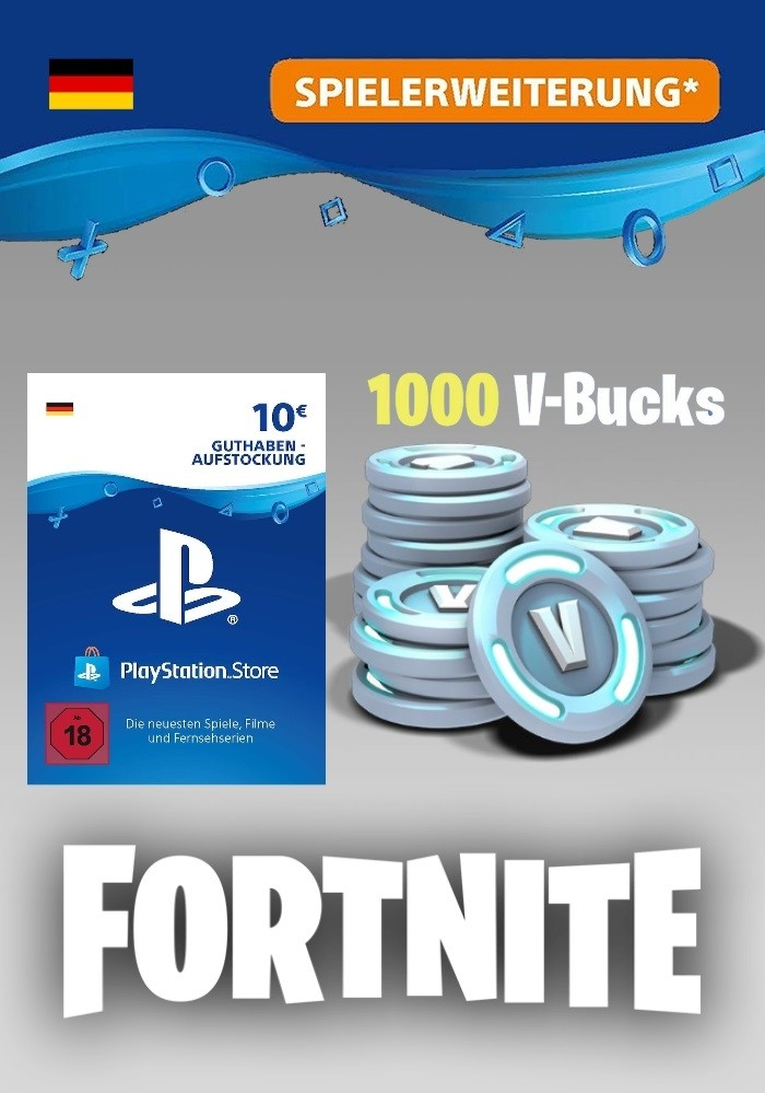 Prepaid Karte Ps4.Fortnite 1 000 V Bucks Ps4 10 Euro Playstation Guthaben